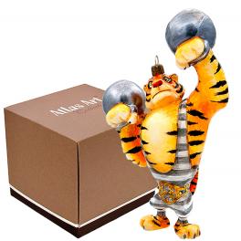 Елочная игрушка из стекла «Тигр атлет», символ 2022 года