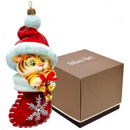 Стеклянная елочная игрушка «Новогодний Тигрёнок», символ 2022 года