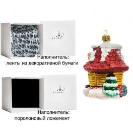 Стеклянная елочная игрушка «Лесная избушка», ручная работа, производство Польша