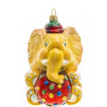 Стеклянная елочная игрушка ручной работы «Слон с мячиком», производство Польша