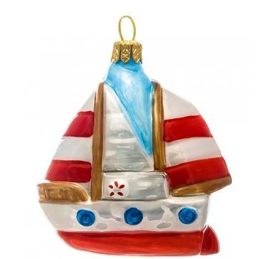 Елочная игрушка из стекла «Кораблик», ручная работа, Польша