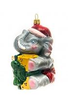 Елочная игрушка «Слоник с подарком»