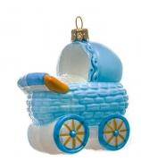 Елочная игрушка «Коляска голубая»
