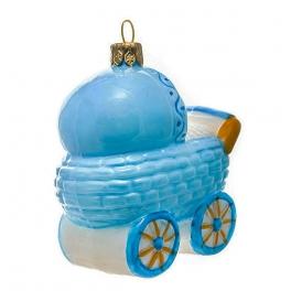 Елочная игрушка «Коляска голубая», материал: стекло, производство Польша