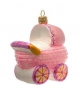 Елочная игрушка «Коляска розовая»