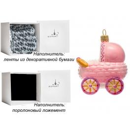 Елочная игрушка «Коляска розовая», материал: стекло, производство Польша
