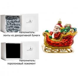 Елочная игрушка ручной работы «Дед Мороз в санях», 11х10 см, производство Польша