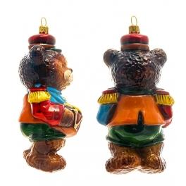 Елочная игрушка польского производства «Медвежонок с барабаном», коллекция Bombki