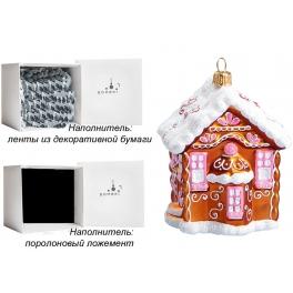 Елочная игрушка из стекла «Пряничный домик», Bombki, Польша