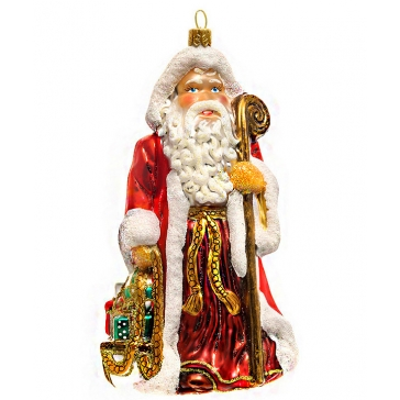 Стеклянная елочная игрушка ручной работы «Дед Мороз с посохом», производство Bombki, Польша