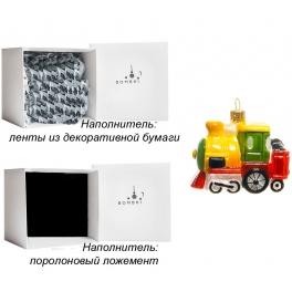 Елочная игрушка из стекла «Желтый паровозик», ручная работа, Польша