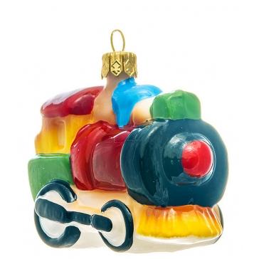 Елочная игрушка из стекла «Красный паровозик», ручная работа, Польша