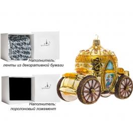 Стеклянная елочная игрушка ручной работы «Карета для Золушки», производство Bombki, Польша