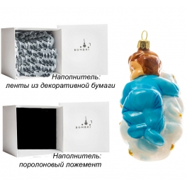 Елочная игрушка «Малыш на облачке», материал: стекло, производство Польша