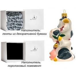 Стеклянная елочная игрушка «Корова Мурка», ручная работа, производство Польша
