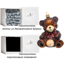 Елочная игрушка «Мишка с бантом», материал: стекло, производство Польша