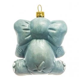 Стеклянная елочная игрушка «Слон Дамбо», ручная работа, производство Польша
