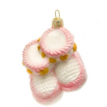 Елочная игрушка из стекла «Пинетки розовые», ручная работа, Польша