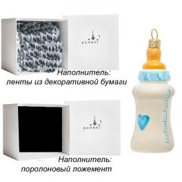 Елочная игрушка из стекла «Детская бутылочка голубая», ручная работа, Польша