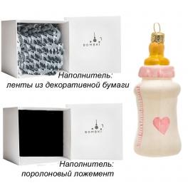 Елочная игрушка из стекла «Детская бутылочка розовая», ручная работа, Польша