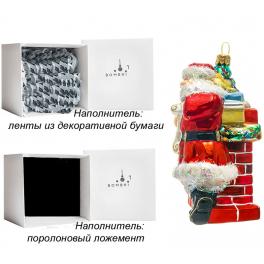 Стеклянная елочная игрушка ручной работы «Санта у камина», производство Bombki, Польша