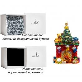 Стеклянная елочная игрушка ручной работы «Новогодний камин», производство Bombki, Польша
