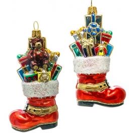 Стеклянная елочная игрушка «Сапожок с подарками», ручная работа, производство Польша