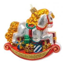 Елочная игрушка польского производства «Лошадка-качалка», коллекция Bombki
