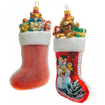 Елочная игрушка «Носок с подарками», размер 7х15 см, материал: стекло