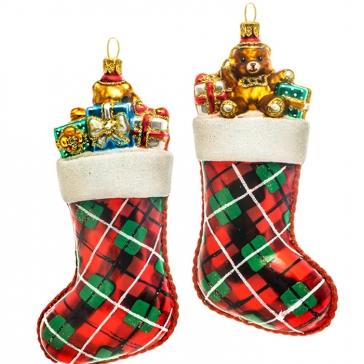 Елочная игрушка «Носок с подарками», Bombki, Польша, размер 7х15 см