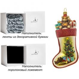 Елочная игрушка «Носок с подарками», материал: стекло, производство Польша