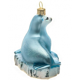 Елочная игрушка ручной работы «Тюлень на льдине», производство Польша