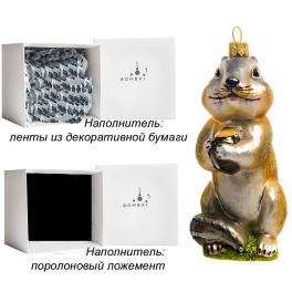 Елочная игрушка ручной работы «Барсук с орехом», производство Польша