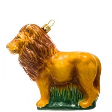 Стеклянная елочная игрушка «Лев», ручная работа, производство Польша