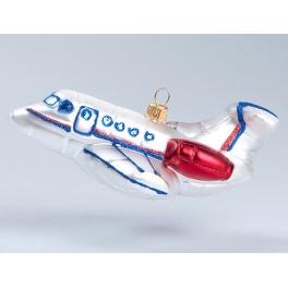 Елочная игрушка из стекла «Самолет», Bombki, Польша