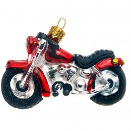 Елочная игрушка из стекла «Мотоцикл», ручная работа, Польша