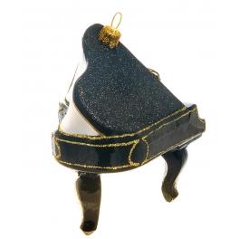Елочная игрушка ручной работы «Черный рояль», 9х9,5 см, производство Польша
