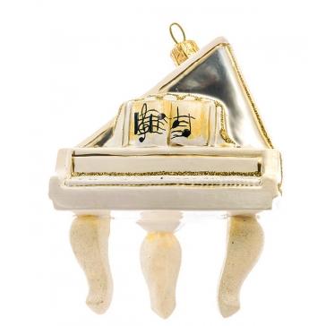 Елочная игрушка ручной работы «Белый рояль», 9х9,5 см, производство Польша