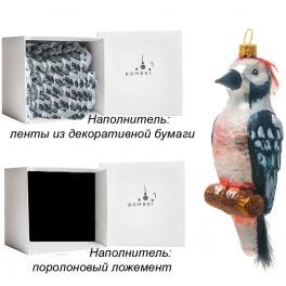 Елочная игрушка «Дятел», материал: стекло, производство Польша
