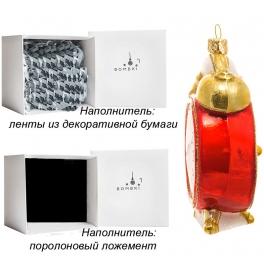 Елочная игрушка «Красный будильник», Bombki, Польша, размер 6 х 9,5 см