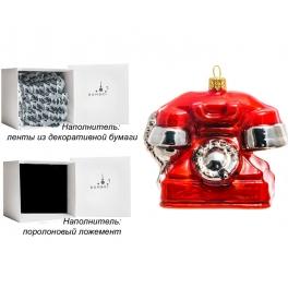 Стеклянная елочная игрушка «Красный телефон», ручная работа, производство Польша