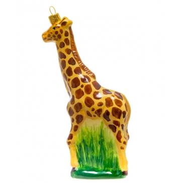 Стеклянная елочная игрушка «Жираф», ручная работа, производство Польша