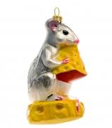 Елочная игрушка «Мышь на сыре»