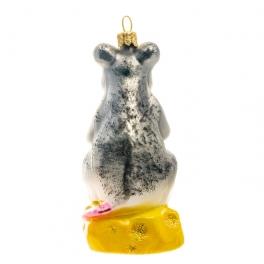 Елочная игрушка «Мышь на сыре», материал: стекло, производство Польша