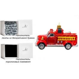 Стеклянная елочная игрушка «Пожарная машина», ручная работа, производство Польша
