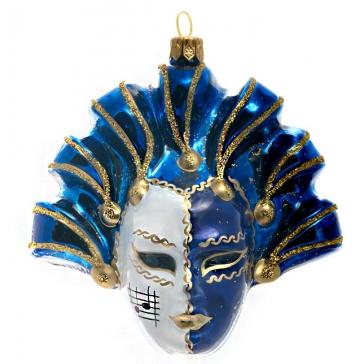 Елочная игрушка «Карнавальная маска», материал: стекло, производство Польша