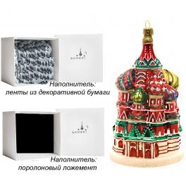 Стеклянная елочная игрушка ручной работы «Собор Василия Блаженного», производство Польша