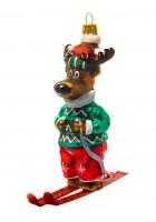 Елочная игрушка «Олень лыжник»