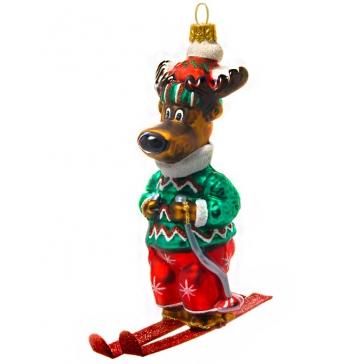Елочная игрушка «Олень лыжник», Bombki, Польша, размер 8х12 см