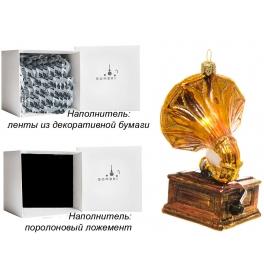 Стеклянная елочная игрушка ручной работы «Граммофон», производство Bombki, Польша